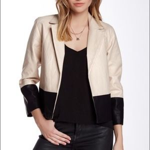Tulle Two Tone Faux Leather Open Jacket XS